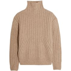 Totême Verbier ribbed wool-blend turtleneck sweater (22840 DZD) ❤ liked on Polyvore featuring tops, sweaters, beige, beige top, chunky sweater, rib sweater, turtleneck sweater and boxy turtleneck sweater