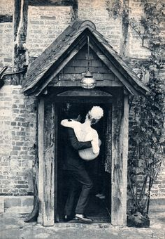 Carrying bride over threshold. Peter Sellers' and Britt Ekland's wedding, 1964.