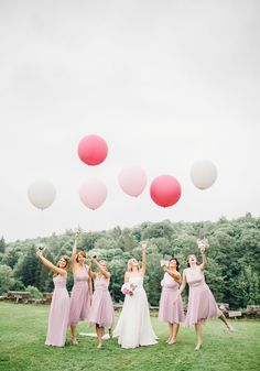 A pretty pink wedding with blushing balloons for Sophie and Sam shared on Wedding Ideas! Click to see more!