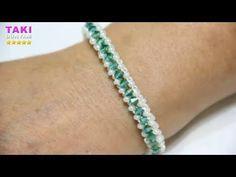 Beaded Bracelets Tutorial, Beaded Bracelet Patterns, Handmade Bracelets, Beading Tutorials, Jewelry Design, Bangles, Beads, Diamond, Crafts