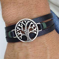 Pulseira Masculina Couro 3 Voltas Punho Arvore Da Vida mens bracelets fashion style cocar brasil