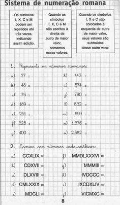 Atividades de matemática para imprimir 5 ano Printable Math Worksheets, Math Numbers, Roman Numerals, Life Cycles, Professor, Bullet Journal, Teaching, Education, School