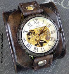 Steampunk Leather Watch Cuff, Custom Men's watch, Leather Wrist Watch, Leather Cuff, Bracelet Watch, Leather Cuff, Mechanical Watch