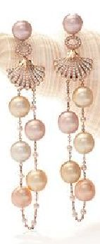 Deep Sea Treasure Rose Gold, Diamond and South Sea Pearl Earrings