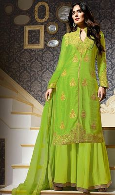 Parrot Green Color Silk Embroidered Palazzo Suit