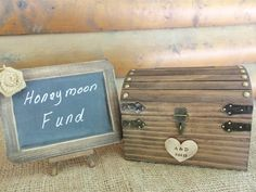 Rustic Wedding Box Set  Cute Box and Chalkboard Sign  by GoRustic - Great for Honeymoon Fund, or Guestbook Alternative