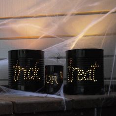 Pin for Later: 28 Easy Spray Paint DIYs That Spruce Up Your Space Halloween Lighting Transform old coffee cans into Halloween lighting for all your trick-or-treaters.  Source: Sarah Lipoff