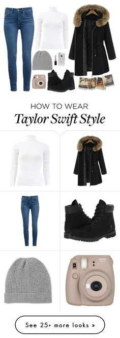 """""""Winter Outfit"""" by marsophie on Polyvore featuring Timberland, Madeleine Thompson, Michael Kors, Paige Denim, MAC Cosmetics and Fujifilm"""