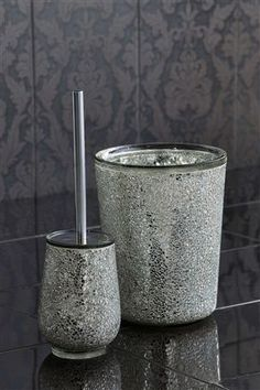 Buy Crackle Glass Bin from the Next UK online shopBuy Silver Crackle Glass Toilet Brush from the Next UK online shop  . Crackle Glass Bathroom Accessories. Home Design Ideas