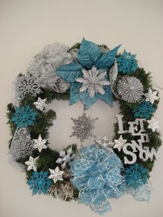 let it snow. blue and silver wreath.