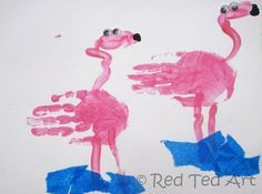 Pink flamingos for a summer craft