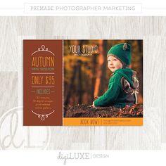 Herbst-MINI-Sitzung-Vorlage - Marketing Board, sofortiger Download, Fotograf, Herbst, Blog-Board, Psd, Fotografie-Vorlage, Orange, Rahmen