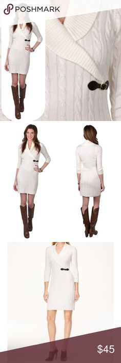 "🆕Calvin Klein Sweater Dress Gorgeous ivory cable knit sweater dress from Calvin Klein. Black buckle detail near the waist. Like new condition - no pilling, pulls, rips, or stains. 35"" long from shoulder to hem. Calvin Klein Dresses Long Sleeve"
