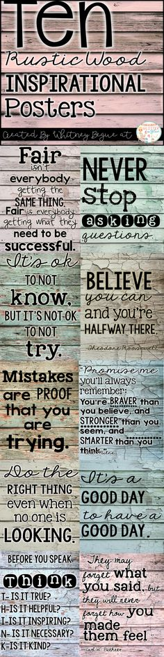 Looking for something inspirational to brighten up your classroom? These posters include ten of my favorite classroom quotes. Easy, inexpensive, and a fun way to decorate your classroom! Keywords: shiplap, farmhouse classroom, burlap, watercolor, teachers, chalk theme classroom , burlap classroom, rustic classroom, farmhouse decor, classroom inspiration, inspirational quotes, positive classroom, growth mindset, shiplap, farmhouse decor