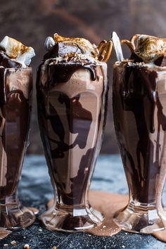Salted Pretzel Nutella Fudge Milkshake with Malted Milk Whipped Cream