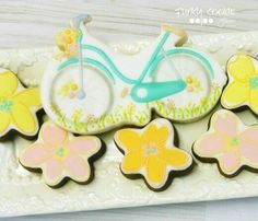 Jill FCS :  Spring time bike ride.  Bicycle decorated cookie.  Flower.
