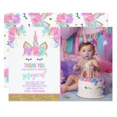 Unicorn Photo Thank You Card Pink Gold Unicorn - photos gifts image diy customize gift idea