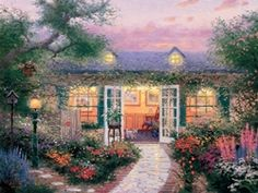 """An artist's studio is his most important self-portrait."" That's certainly true of my second studio—a romantic hideaway in the lovely village of Carmel-by-the-Sea, which I've portrayed in ""Studio in the Garden"".  — Thomas Kinkade.  March 1993"