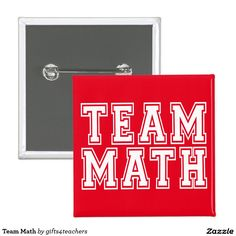 Red and White Team Math Pinback Button