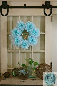 tissue paper pouf wreath tutorial @ DIY Show Off  great idea for baby shower!