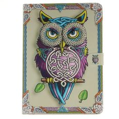 Energetic Owl Pattern Premium PU Leather Magnet Slim Flip Kickstand Case Cover for Apple iPad Air