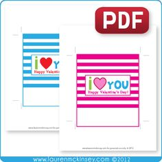 valentine's day i love you candy bar wrappers - free printable