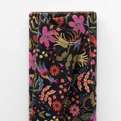 Folk Birds Black Canvas Fabric