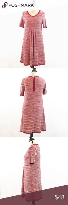Anthropologie Maeve Dora Short Sleeve Shift Dress Excellent condition, no flaws or stains.  Burgundy/red/cranberry color with very light creamy white contrast.  Zips up the back.  Slight A Line Shape.  Measurements and fabric content in photos. Anthropologie Dresses