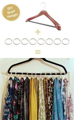 DYI Scarf holder (hanger and shower curtain rings)