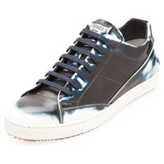 Fendi Airbrushed Blue Leather Sneakers | Fizzm | A Cool Luxury Online Shop
