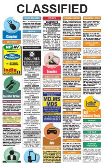 Newspaper classified print ads booked online instantly at no extra cost. All leading newspapers available for placing ads under matrimonial,property, recruitment column. Best discount offers, convenient online & offline payment mediums.