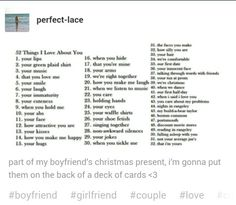 Cute 52 things I love about you list
