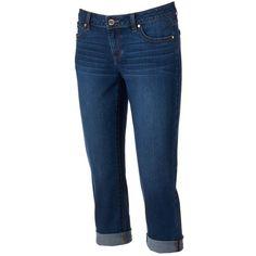 Petite Jennifer Lopez Cuffed Denim Capris ($30) ❤ liked on Polyvore featuring jeans, bottoms, pants, shorts, healio blue, petite and jennifer lopez
