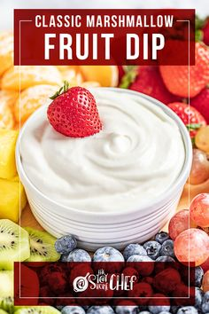 This Classic Marshmallow Fruit Dip recipe uses only 3 ingredients to bring you a refreshing dip to pair with your favorite fruit. We've included 5 additional flavor options so you can customize this crowd favorite for any time of the year! Make sure to give this a try for your next get-together. Dip Recipes, Snack Recipes, Vegetarian Recipes, Best Deviled Eggs, Cream Cheese Spreads, Marshmallow Creme, Strawberry Blueberry, Honey And Cinnamon, Fruit In Season