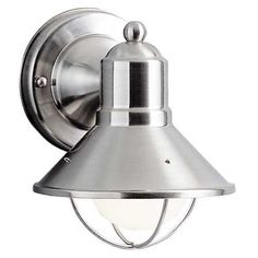 7-1/2-Inch Nautical Outdoor Wall Light by Kichler. $50.00. Brushed nickel finish with bulb cage. This sleek conical outdoor wall light features a brushed nickel finish over aluminum, making it an attractive and durable outdoor light source. Enhancing the marine look is a cage-like structure, which also protects the bulb. Takes a 60-watt bulb (not included).  Kichler Lighting offers a distinctive array of lighting solutions that reflect individual personality, tast...