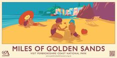 Great Poster produced by Pembrokeshire Coast National Park of Tenby. National Park Posters, National Parks, Pembrokeshire Coast, Summer Poster, Beach Posters, Railway Posters, Images And Words, Travel Illustration, North Beach