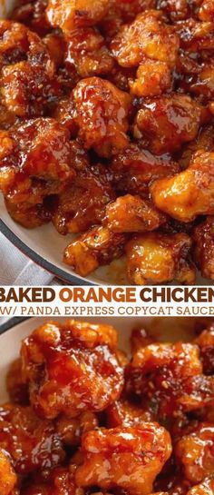 Baked Orange Chicken made with Panda Express Orange Chicken Copycat Sauce with an easy baked recipe that s easier and healthier than frying in 30 minutes orange orangechicken chinesefood chinese dinner dinnerthendessert Asian Recipes, New Recipes, Cooking Recipes, Favorite Recipes, Healthy Recipes, Easy Chinese Chicken Recipes, Recipies, Recipes With Orange Chicken, Gourmet
