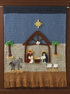 Crochet Pattern PDF Nativity Afghan and Wall Hanging Crochet Wall Hangings, Crochet Hooks, Crochet Angel Pattern, Crochet Patterns, Christmas Crafts, Christmas Decorations, Christmas Ornaments, Yarn Needle, Crochet Designs