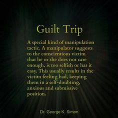 "Manipulation via Shaming and Guilt-Tripping: Using the Conscience of the Neurotic against Them--Excerpt; ""The reality is that the disordered character is not blind but rather very aware. He also knows full well what behaviors most people regard as wrong and shameful, and he wants others to toe the line. The reason he doesn't play by the same rules is because if he is a narcissistic character, he feels entitled to do otherwise.""---Good article!"