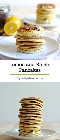 Try a twist on traditional American Pancakes by adding lemon zest and juicy raisins – Delicious. Breakfast Recipes, Dessert Recipes, Desserts, Breakfast Ideas, Crepes And Waffles, American Pancakes, Childrens Meals, Healthy Meals For Kids, Sweet Recipes