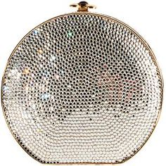 Judith Leiber round crystal Minaudiere clutch
