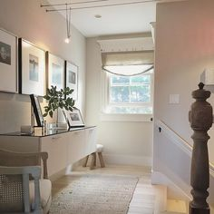 Upstairs Modern Mix #hallway #decorate #modern #vintage #showcaseyourspace #inspire #myhomedecor #yourhomestyle #capecod #oldnewelpost #salvage #home #gallery #display #architecture #white #whiteliving #colormyworldmonday
