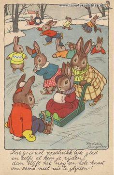 Dutch illustrator Freddie Langeler (Johanna Frederika Langeler) Vintage Book Art, Vintage Cards, Bunny Art, Cute Bunny, Zany Zoo, Leo Lionni, Rabbit Art, Painted Books, Woodland Creatures