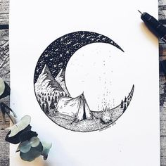 Artist Draws Millions of Tiny Dots to Calmly Ease Her Anxiety And The Results Are Amazing – Swedish illustrator Josefine Svärd creates fantastical stippling art… Easy Drawings, Ink Drawings, Dotted Drawings, Detailed Drawings, Stippling Art, Pen Art, Drawing Sketches, Moon Sketches, Art Inspo