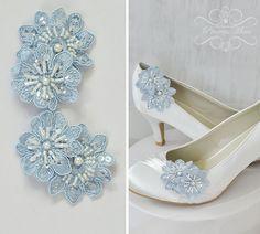 Hochzeit Schuhclips - Spitze - Etwas Blaues