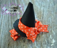 Halloween Witch Hat Hair Clip Bow by LittlePurpleDragonfl on Etsy, $3.99