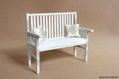 1/6 scale Miniature Wood Bench with 2 cushions for by miniCHAIR, $39.00