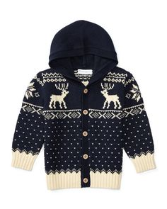 Z1SMR Ralph Lauren Hooded Fair Isle Cardigan, Navy, Size 9-24 Months
