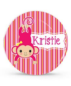 Another great find on #zulily! Pink Monkey Personalized Plate #zulilyfinds