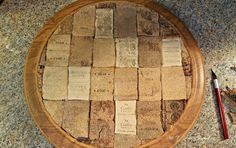 How to Peel Wine Corks and Flatten Them - I LOVE this rustic look! Pretty enough to hang on wall just like this!